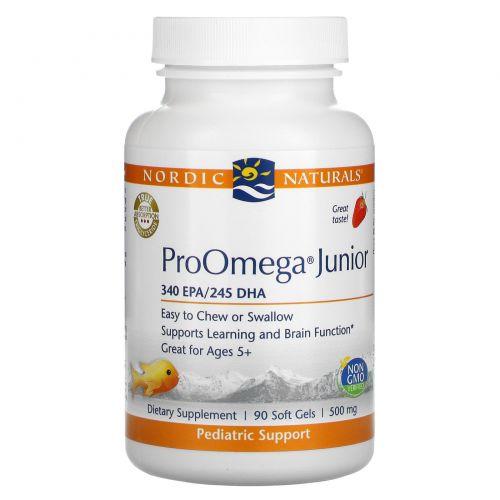 Nordic Naturals, ProOmega Junior, Strawberry, 500 mg, 90 Soft Gels