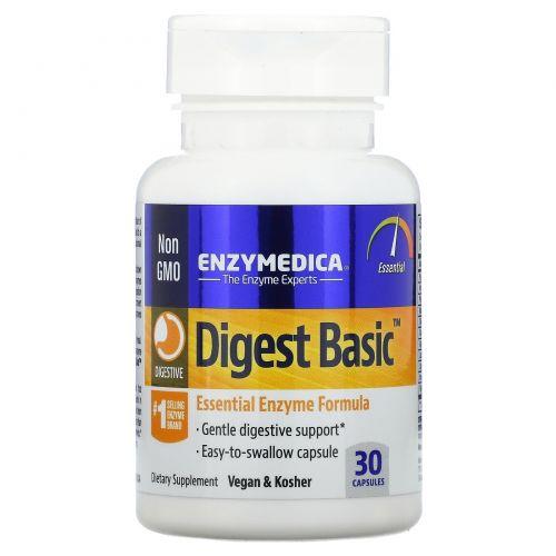 Enzymedica, Digest Basic, Формула с основными ферментами, 30 капсул