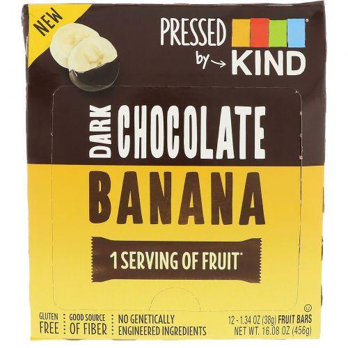 KIND Bars, Pressed by KIND, Темный шоколад и банан, 12 фруктовых батончиков, 1,35 унц. (38 г) каждый