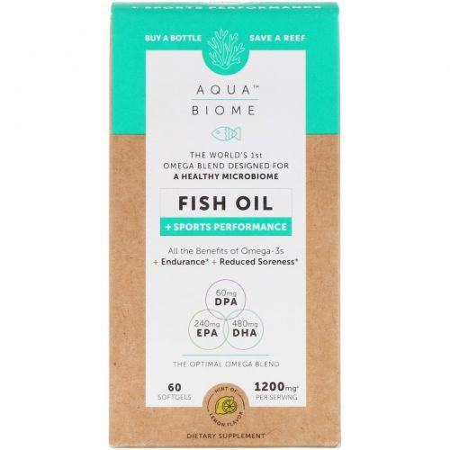 Enzymedica, Aqua Biome, рыбий жир + успехи в спорте, лимонный вкус, 60 мягких таблеток