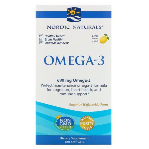 Nordic Naturals, Омега-3, со вкусом лимона, 690 мг, 180 желатиновых капсул
