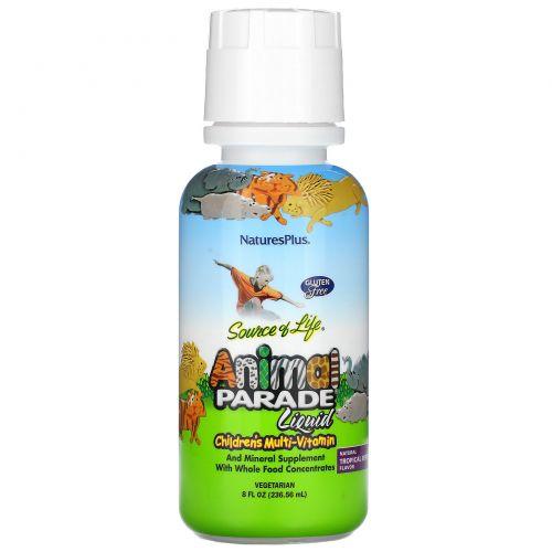 Nature's Plus, Источник жизни, парад животных, жидкий, детский мультивитамин, природный тропический ароматизатор, 236,56 мл (8 жидких унций)