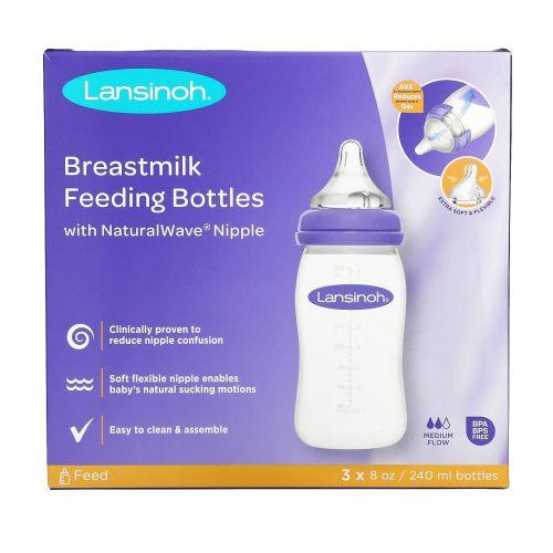 Lansinoh, Бутылки с соской Natural Wave, средний поток, 3 бутылки, по 8 унций (240 мл) каждая