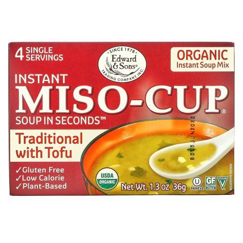 Edward & Sons, Органический суп Miso-Cup, натуральный/растворимый, 4 отдельные порции, по 9 г каждая