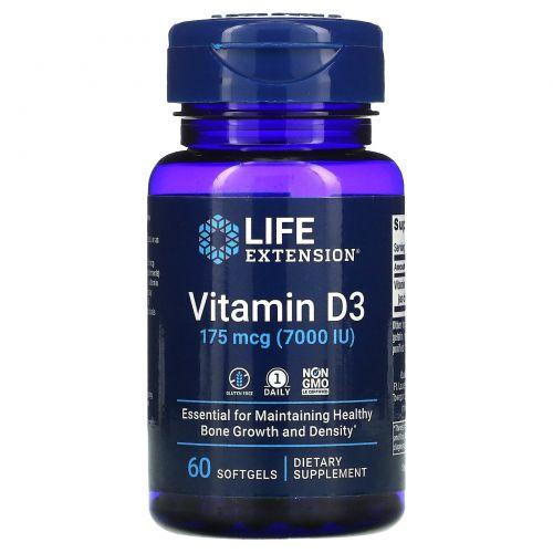 Life Extension, Витамин D3, 7,000 МЕ, 60 гелевых капсул