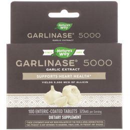 Nature's Way, Пищевая добавка Garlinase 5000, 100 таблеток с энтеросолюбильным покрытием