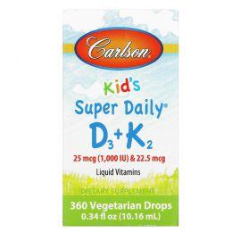 Carlson Labs, Для детей, Super Daily D3+K2, 25 мкг, 0,34 ж. унц. (10,16 мл)