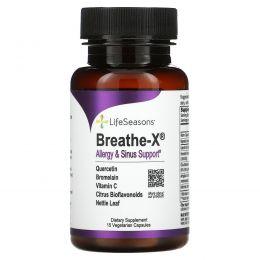 LifeSeasons, Breathe-X, поддержка при аллергии и для пазух носа, 15 вегетарианских капсул