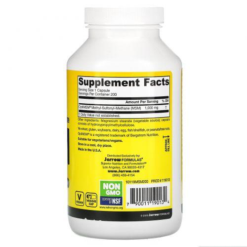 Jarrow Formulas, МСМ, метил-сульфонил-метан, 1000 мг, 200 капсул в растительной оболочке