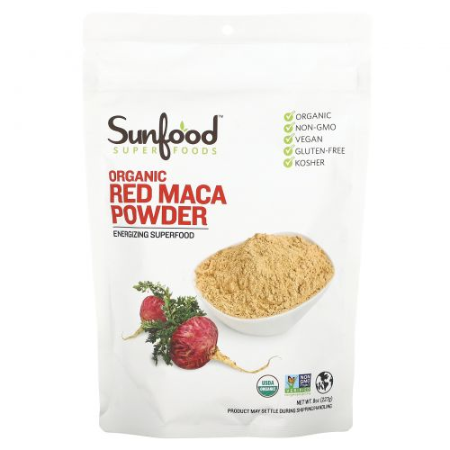 Sunfood, Raw Organic Red Maca Powder, 8 oz (227 g)