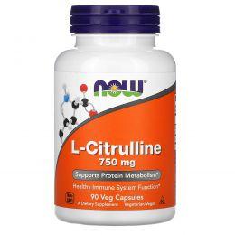 Now Foods, L-цитруллин, 750 мг, 90 капсул