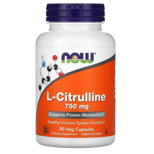 Now Foods, L-цитруллин, 750 мг, 90 веганских капсул