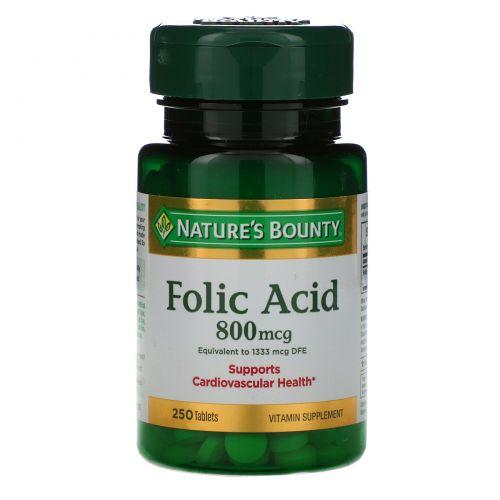 Nature's Bounty, Фолиевая Кислота, Максимального Действия 250 таблеток