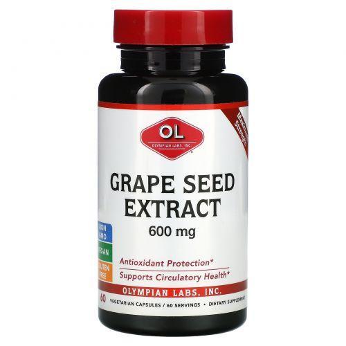 Olympian Labs Inc., Экстракт семян винограда, 600 мг, 60 капсул на растительной основе