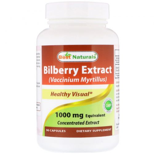 Best Naturals, Bilberry Extract (Vaccinium Myrtillus), 1000 mg , 90 Capsules