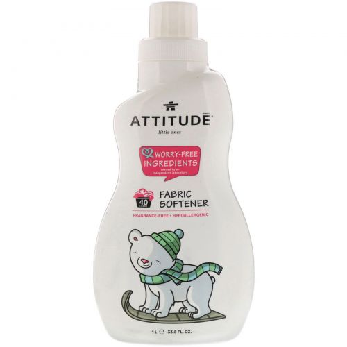 ATTITUDE, Little Ones, Fabric Softener, Fragrance-Free, 40 Loads, 33.8 fl oz (1 l)