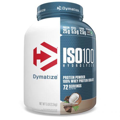 Dymatize Nutrition, Гидролизованный, 100%-ный изолят сывороточного белка ISO 100, шоколад и кокос, 5 фунтов (2,3 кг)