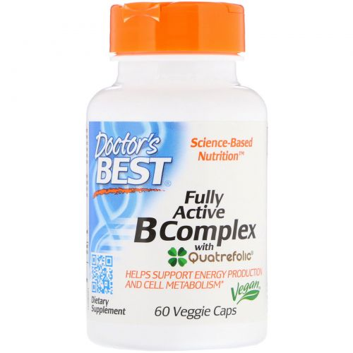 Doctor's Best, Fully Active B Complex with Quatrefolic, 60 Veggie Caps