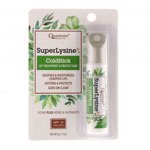 Quantum Health, Super Lysine+, помада против герпеса, лечение и защита губ, SPF-21, 0,18 унции (5 г) - отзывы, инструкция по при
